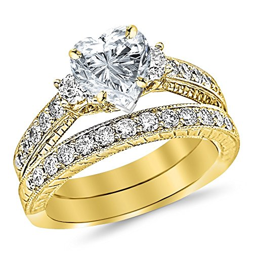 14K Yellow Gold 1.53 CTW Three Stone Vintage With Milgrain & Filigree Bridal Set with Wedding Band & Diamond Engagement Ring w/0.5 Ct Heart Cut I Color VS2 Clarity Center