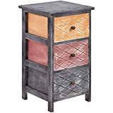 Giantex Bedroom Bedside Nightstand Table Wooden Cabinet Storage Furniture (3 Drawers)