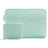 Mosiso Diamond Foam Water Repellent and Shock Resistant Lycra Laptop Sleeve Bag for 15-15.6 Inch MacBook Pro, Notebook Computer with Small Case, Mint Green