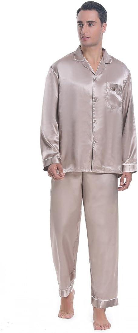 Silky Pajamas Sleepwear Lavenderi Mens Long Sleeve Silk Satin Pajama Set