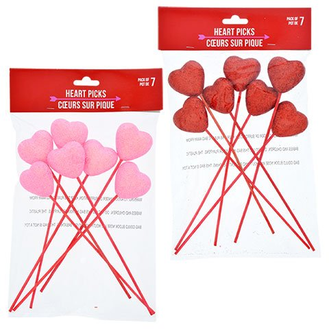 Valentines Day Glittery Heart Picks Set of 2 for Floral Arrangements, Gift Baskets, Crafts, Decorations and More Pink Pack of 9 and Red Pack of 7 ()