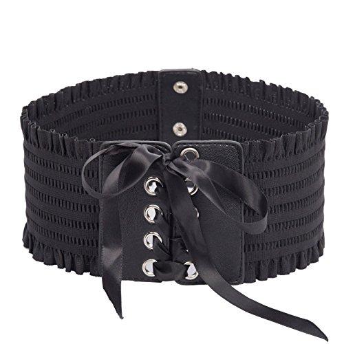 Women Gothic Steampunk Elastic Stretch Corset Waist Cincher Belt SL000009-1 S Black -