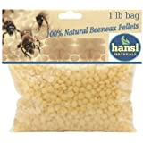 Hansi Naturals Beeswax Pellets 1 LB (Pound) Bag Golden Yellow pastiles Cosmetic Grade Natural beeswax