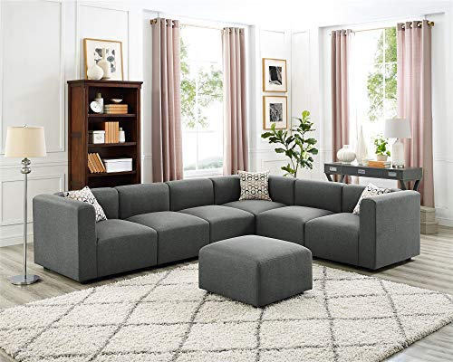Steel Grey Modular Sectional Sofas, 5 Seats L-Shape Couchesfor Living Room