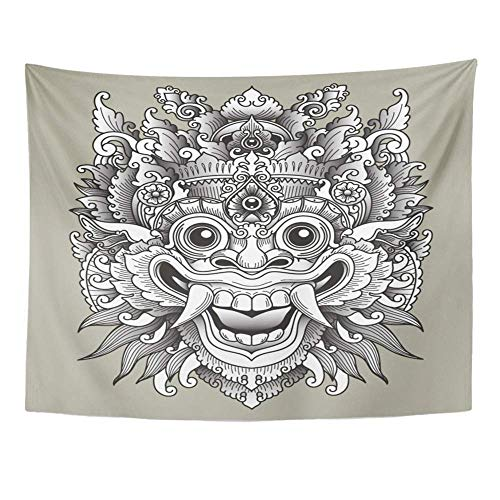 - SPXUBZ Wall Tapestry Indonesia Balinese Barong Traditional Mask Tattoo Bali Indonesian Asian Nyepi Wall Hanging Decoration Soft Fabric Tapestry Perfect Print for House Rooms