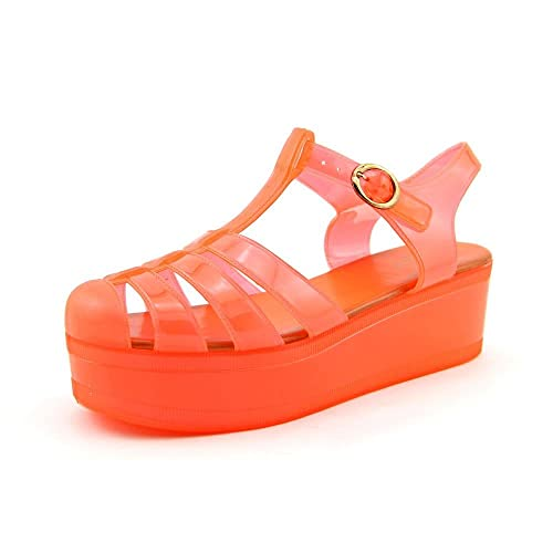 Wanted Shoes Womens Jellypop Jelly Sandal Orange