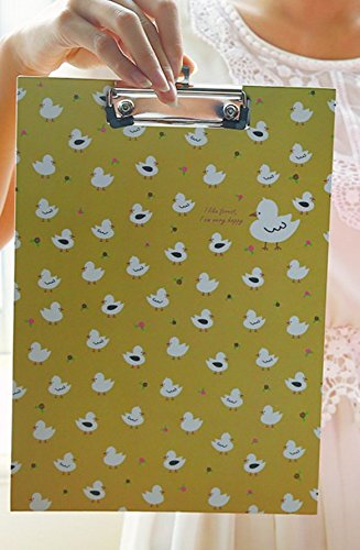 - Huasen Lovely Chicken A4 Paper Clipboard Portable File Folders Low Profile Clip-Yellow
