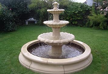 stone garden water fountain5ft 9inch 3tier fountain and 7ft 3inch double pool surround self - Garden Water Fountains