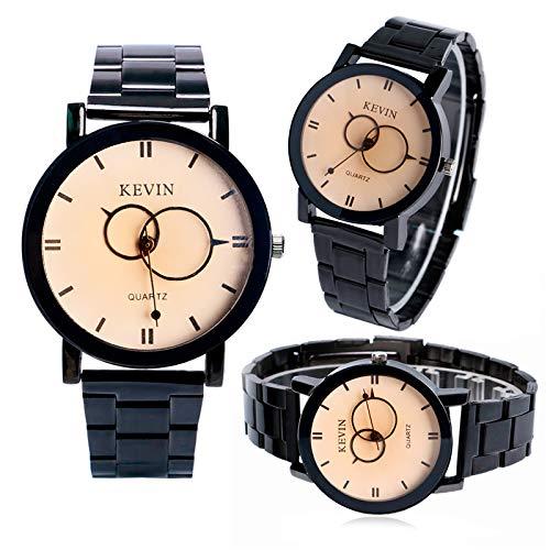 52734c0ddcdab4 Kevin orologio da uomo, nuovo design orologi per uomo e donna, in acciaio  INOX, con quadrante rotondo fascia da polso al quarzo: Amazon.it: Orologi