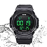 Men's Sports Watch,All Black Outdoor Recreation Digital Wrist Watch Smart Movement with Dual Time and LED Backlight