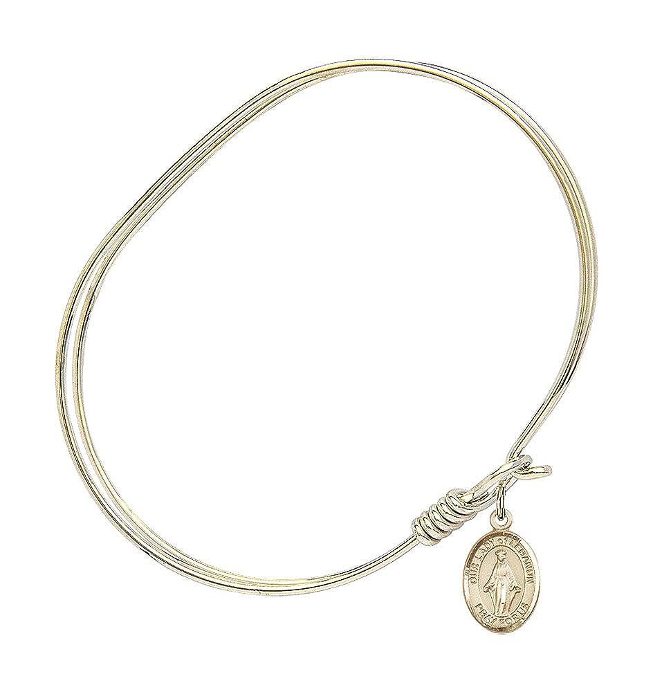 Our Lady Of Lebanon Charm On A 7 Inch Oval Eye Hook Bangle Bracelet