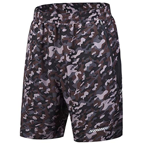 Shorts Camouflage Spandex (Souke Sports Men's Workout Running Shorts Quick Dry Athletic Performance Shorts Black Liner Zip Pockets (Camouflage, Small))