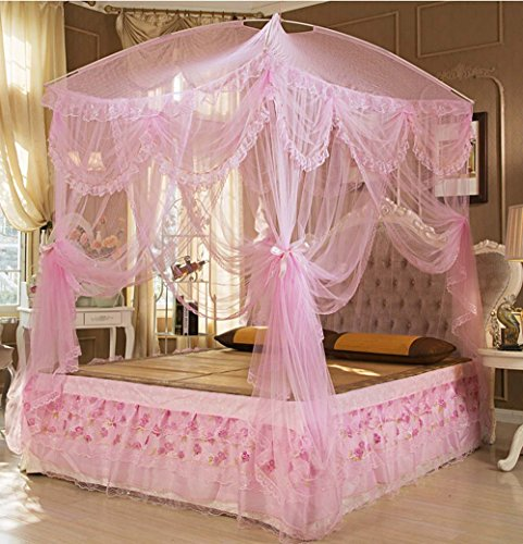 Nattey Princess Lace Canopies Mosquito Netting Canopy For Twin Full Queen King Bed Size (Pink) Princess Castle Bed