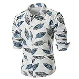 Men Fashion Dress Shirt Stylish Feather Print Work Long Sleeve Shirt Blouse Tops Zulmaliu (3XL, White)