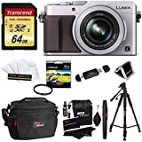 Panasonic LUMIX LX100 16.8 MP Four Thirds CMOS sensor Point and Shoot Camera with Integrated Leica DC Lens (Silver) + 64GB SDXC U3 + 50 Tripod + Deluxe Case + 43mm UV Filter + Extra Accessories