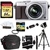 Panasonic LUMIX LX100 16.8 MP Four Thirds CMOS sensor Point and Shoot Camera with Integrated Leica DC Lens (Silver) + 64GB SDXC U3 + 50″ Tripod + Deluxe Case + 43mm UV Filter + Extra Accessories