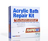ACRYLIC BATH REPAIR KIT - RAPID SETTING - REPAIRS CHIPS, SCRATCHES CRACKS & SPLITS IN BATHS & SHOWER TRAYS in RAPID time - EUROPEAN WHITE 1W28 LUCITE (ICI) COLOUR MATCHED by Anglo