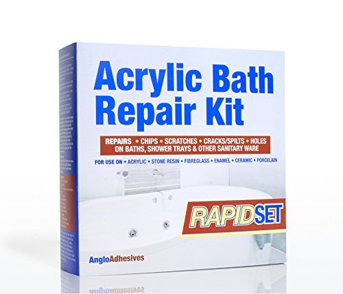 (ACRYLIC BATH REPAIR KIT - RAPID SETTING - REPAIRS CHIPS, SCRATCHES CRACKS & SPLITS IN BATHS & SHOWER TRAYS in RAPID time - EUROPEAN WHITE 1W28 LUCITE (ICI) COLOUR MATCHED by Anglo)