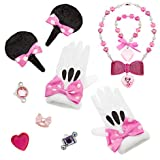 Disney Minnie Mouse Costume Accessory Set for Dress Up, Rings, Bracelet, Necklace, White Gloves, Hair Clips with Bows!