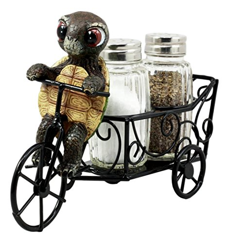 Figurine Salt Pepper - Ebros Slow Seasoned Delivery Turtle Riding Tricycle Cart Salt and Pepper Shakers Holder Figurine