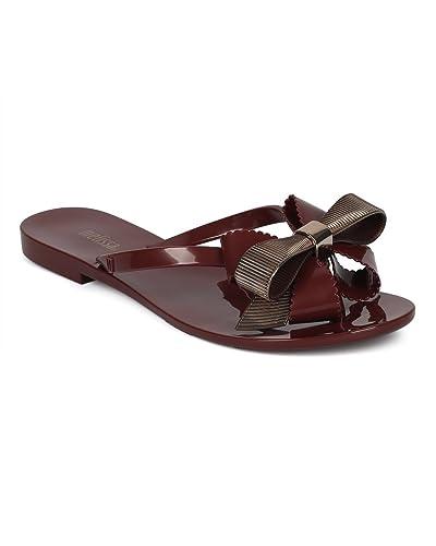 Women Multi Textured Jelly Sandal - Grosgrain Bow Tie Sandal - PVC Thong Sandal - Dressy Feminine Cute Casual Summer Sandal - Harmonic XII by