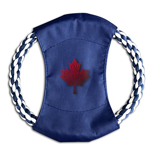 Pink Sky Maple Leaf Fashion Baby Pet Training Canvas Flying Discs Large Frisbee With Rope Ring