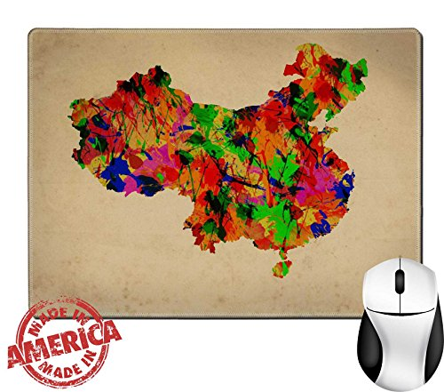 "Contour Fine China (Luxlady Natural Rubber Mouse Pad/Mat with Stitched Edges 9.8"" x 7.9"" Watercolor art Map of China IMAGE 39723168)"