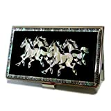 Antique Alive Mother of Pearl Horse Design Business Credit Card Holder Wallet (B106)