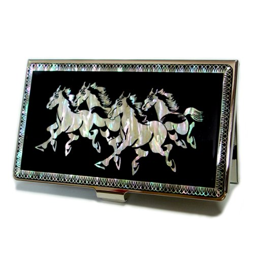 - Antique Alive Mother of Pearl Horse Design Business Credit Card Holder Wallet (B106)