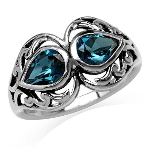 1.68ct. 7x5MM Genuine Pear Shape London Blue Topaz 925 Sterling Silver Filigree Ring Size 7 ()