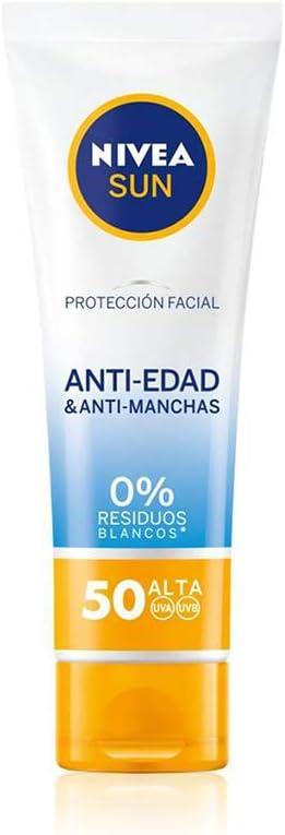 NIVEA SUN Protección Facial UV Anti-edad & Anti-manchas FP50 (1 x 50 ml), protector solar facial, crema antiedad 0% residuos blancos, crema hidratante facial