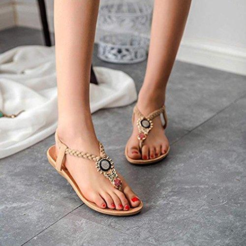 Calzado de mujer,Amlaiworld Bohemia dulces moldeados de las sandalias de las sandalias del dedo del pie del clip Beige