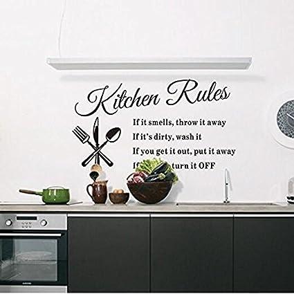 Nicebuty De Cuisine Stickers Pour Mur, Hot Populaire R?gles De Cuisine  English ?