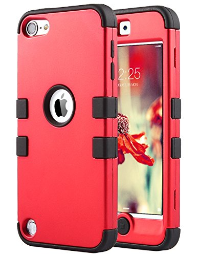 Pod 6 Cases, 6th Case,ULAK Colorful Series 3-Piece Style Hybrid Silicon Hard Case Cover for Apple iPod Touch 5 6th Generation_2015 Released (Red + Black) ()