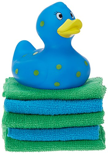 Blue Duck - Cribmates Rubber Duck with Washcloths, Blue/Yellow Dots