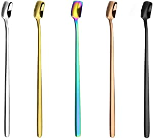 Long Handle Mixing Stirring Spoon, for Coffee Cocktail Beverage, Drink Stirrer Sticks, Iced Tea Spoons, Set of 5 Colors (Stainless Steel, 6.7-Inch)
