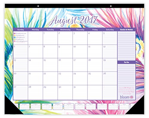 "bloom daily planners 2017-18 Academic Year Desk or Wall Calendar (August 2017 through July 2018) - 16"" x 21"" - Peacock"