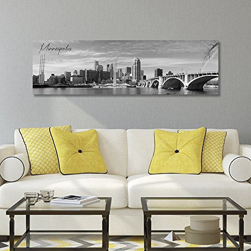 B&W Panoramic Minneapolis 14x48 Wrapped Canvas Framed and Ready to Hang by