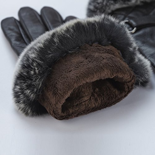 GSG Womens Warm Italian Nappa Leather Gloves Winter Luxury Genuine Rex Rabbit Fur Cuff Lady Non Touchscreen 7.5 Black Christmas
