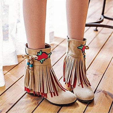 Heart&M Damen Schuhe Vlies Herbst Winter Komfort Neuheit Modische Stiefel Stiefel Keilabsatz Runde Zehe Booties Stiefeletten Applikation red