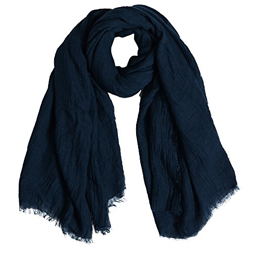 QBSM Womens Navy Blue Soft Large Crinkle Hijab Scarfs Shawls Solid Cotton Sheer Wraps Cover Up by QBSM (Image #7)
