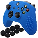 Cheap YoRHa Studded Silicone Cover Skin Case for Microsoft Xbox One X & Xbox One S controller x 1(blue) With Pro thumb grips 8 pieces