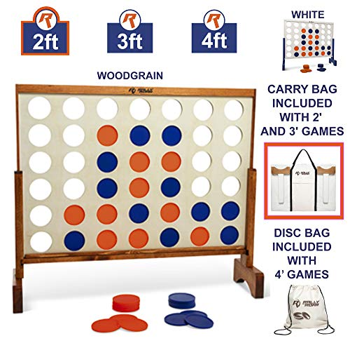 Giant 4 in A Row, 4 to Score with Carrying Bag - Premium Wooden Four Connect Game Set in 2