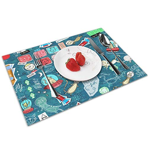(Oscar's Space Odyssey-Placemats Set of 4 for Dining Table Washable Woven Vinyl Placemat Non-Slip Heat Resistant Kitchen Table Mats Easy to Clean.)