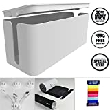 Cable Management box, Cord Organizer and Cover with Cable Kit - Desk, wall mounted TV, Video, Game and Computer Wire holder, hider, protector with Cable Sleeve,white edition by Tokye XXL VALUE