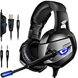 ONIKUMA Upgraded Gaming Headset for PS4, Xbox One Controller, Nintendo Switch, PC, Laptop, Noise Cancelling Microphone Over Ear Headphones, 7.1 Surround  Sound Stereo, Soft Memory Earmuffs, LED Light