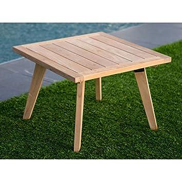 Table Basse de Jardin en Teck Brut 60x60cm ETHNIKA: Amazon ...