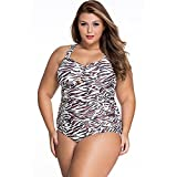 Slocyclub Women Ruffle Brown Zebra Stripe Plus Size Swimsuit Monokini