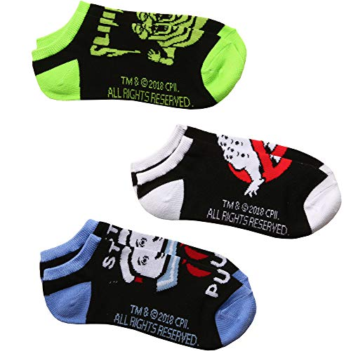 Ghostbusters Logo, Slimer, Stay Puft Man 3-pack Adult No-show socks -
