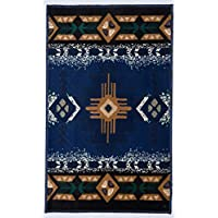 Rugs 4 Less Western Collection Southwest Native American Indian Door Mat Area Rug Design in Navy Blue 318 Navy Blue 2X34